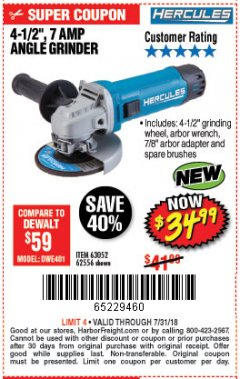 "Harbor Freight Coupon HERCULES 4-1/2"" ANGLE GRINDER MODEL HE61S Lot No. 63052/62556 Expired: 7/31/18 - $34.99"