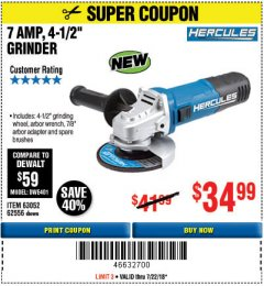 "Harbor Freight Coupon HERCULES 4-1/2"" ANGLE GRINDER MODEL HE61S Lot No. 63052/62556 Expired: 7/22/18 - $34.99"