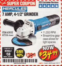 "Harbor Freight Coupon HERCULES 4-1/2"" ANGLE GRINDER MODEL HE61S Lot No. 63052/62556 Expired: 2/28/19 - $34.99"