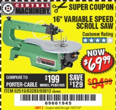 "Harbor Freight Coupon 16"" VARIABLE SPEED SCROLL SAW Lot No. 62519, 63283, 93012 Expired: 10/27/19 - $69.99"