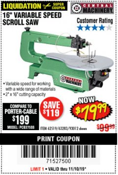 "Harbor Freight Coupon 16"" VARIABLE SPEED SCROLL SAW Lot No. 62519, 63283, 93012 Expired: 11/10/19 - $79.99"