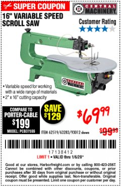 "Harbor Freight Coupon 16"" VARIABLE SPEED SCROLL SAW Lot No. 62519, 63283, 93012 Expired: 1/6/20 - $69.99"