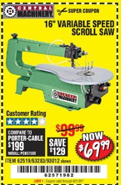 "Harbor Freight Coupon 16"" VARIABLE SPEED SCROLL SAW Lot No. 62519, 63283, 93012 Expired: 6/21/20 - $69.99"