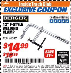 "Harbor Freight ITC Coupon 12"" F-STYLE WELDING CLAMP Lot No. 63512 Expired: 7/31/18 - $14.99"