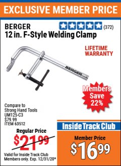 "Harbor Freight ITC Coupon 12"" F-STYLE WELDING CLAMP Lot No. 63512 Expired: 12/31/20 - $16.99"