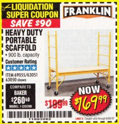 Harbor Freight Coupon HEAVY DUTY PORTABLE SCAFFOLD Lot No. 63050/63051/69055/98979 Expired: 6/30/18 - $169.99