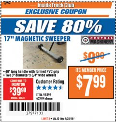 "Harbor Freight ITC Coupon 17"" MINI MAGNETIC SWEEPER Lot No. 62704/98398 Expired: 9/25/18 - $7.99"