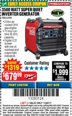 Harbor Freight Coupon 3500 WATT SUPER QUIET INVERTER GENERATOR Lot No. 63584 Expired: 11/22/17 - $679.99