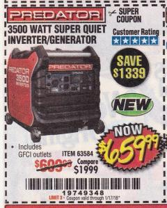 Harbor Freight Coupon 3500 WATT SUPER QUIET INVERTER GENERATOR Lot No. 63584 Expired: 1/17/18 - $659.99