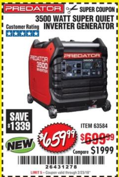 Harbor Freight Coupon 3500 WATT SUPER QUIET INVERTER GENERATOR Lot No. 63584 Expired: 2/23/18 - $659.99