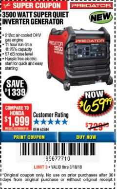 Harbor Freight Coupon 3500 WATT SUPER QUIET INVERTER GENERATOR Lot No. 63584 Expired: 3/18/18 - $659.99
