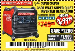 Harbor Freight Coupon PREDATOR 3500 WATT SUPER QUIET INVERTER GENERATOR Lot No. 56720/63584 Expired: 7/15/18 - $699.99