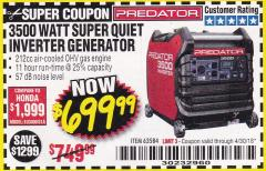 Harbor Freight Coupon PREDATOR 3500 WATT SUPER QUIET INVERTER GENERATOR Lot No. 56720/63584 Expired: 4/30/18 - $699.99