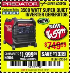 Harbor Freight Coupon PREDATOR 3500 WATT SUPER QUIET INVERTER GENERATOR Lot No. 56720/63584 Expired: 7/9/18 - $659.99