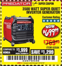Harbor Freight Coupon PREDATOR 3500 WATT SUPER QUIET INVERTER GENERATOR Lot No. 56720/63584 Expired: 10/15/18 - $699.99