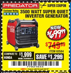 Harbor Freight Coupon PREDATOR 3500 WATT SUPER QUIET INVERTER GENERATOR Lot No. 56720/63584 Expired: 9/8/18 - $699.99