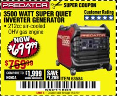 Harbor Freight Coupon PREDATOR 3500 WATT SUPER QUIET INVERTER GENERATOR Lot No. 56720/63584 Expired: 11/3/18 - $699.99
