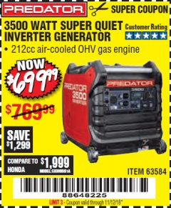 Harbor Freight Coupon PREDATOR 3500 WATT SUPER QUIET INVERTER GENERATOR Lot No. 56720/63584 Expired: 11/12/18 - $699.99
