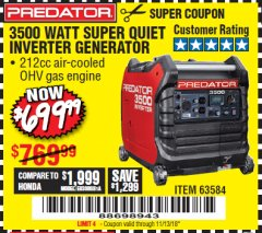 Harbor Freight Coupon PREDATOR 3500 WATT SUPER QUIET INVERTER GENERATOR Lot No. 56720/63584 Expired: 11/13/18 - $699.99