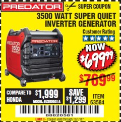 Harbor Freight Coupon PREDATOR 3500 WATT SUPER QUIET INVERTER GENERATOR Lot No. 56720/63584 Expired: 12/1/18 - $699.99