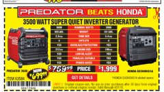 Harbor Freight Coupon PREDATOR 3500 WATT SUPER QUIET INVERTER GENERATOR Lot No. 56720/63584 Expired: 8/31/18 - $699.99