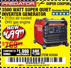 Harbor Freight Coupon PREDATOR 3500 WATT SUPER QUIET INVERTER GENERATOR Lot No. 56720/63584 Expired: 6/30/19 - $699.99