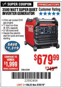Harbor Freight Coupon PREDATOR 3500 WATT SUPER QUIET INVERTER GENERATOR Lot No. 56720/63584 Expired: 8/26/18 - $679.99