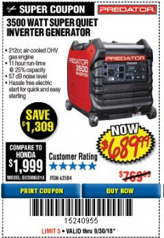 Harbor Freight Coupon PREDATOR 3500 WATT SUPER QUIET INVERTER GENERATOR Lot No. 56720/63584 Expired: 9/30/18 - $689.99
