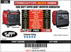 Harbor Freight Coupon PREDATOR 3500 WATT SUPER QUIET INVERTER GENERATOR Lot No. 56720/63584 Expired: 9/23/18 - $689.99