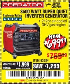 Harbor Freight Coupon PREDATOR 3500 WATT SUPER QUIET INVERTER GENERATOR Lot No. 56720/63584 Expired: 1/6/19 - $699.99