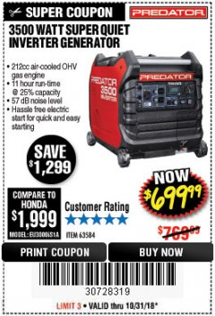 Harbor Freight Coupon PREDATOR 3500 WATT SUPER QUIET INVERTER GENERATOR Lot No. 56720/63584 Expired: 10/31/18 - $699.99