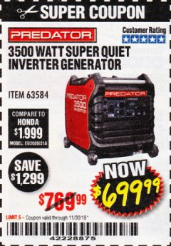 Harbor Freight Coupon PREDATOR 3500 WATT SUPER QUIET INVERTER GENERATOR Lot No. 56720/63584 Expired: 11/30/18 - $699.99
