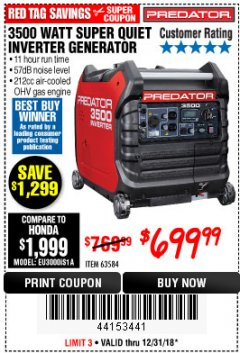 Harbor Freight Coupon PREDATOR 3500 WATT SUPER QUIET INVERTER GENERATOR Lot No. 56720/63584 Expired: 12/31/18 - $699.99