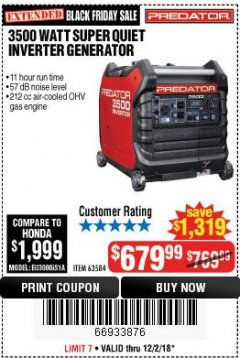 Harbor Freight Coupon PREDATOR 3500 WATT SUPER QUIET INVERTER GENERATOR Lot No. 56720/63584 Expired: 12/2/18 - $679.99