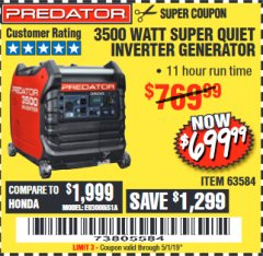 Harbor Freight Coupon PREDATOR 3500 WATT SUPER QUIET INVERTER GENERATOR Lot No. 56720/63584 Expired: 5/1/19 - $699.99