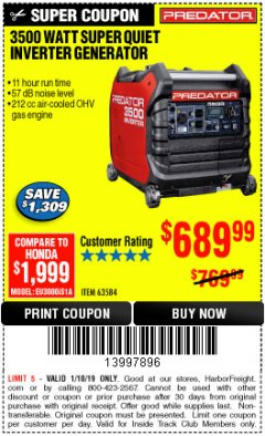 Harbor Freight ITC Coupon PREDATOR 3500 WATT SUPER QUIET INVERTER GENERATOR Lot No. 56720/63584 Expired: 1/10/19 - $689.99