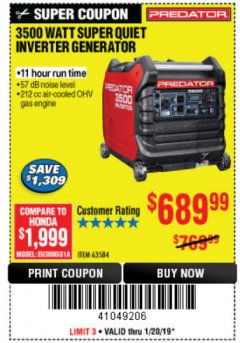 Harbor Freight Coupon PREDATOR 3500 WATT SUPER QUIET INVERTER GENERATOR Lot No. 56720/63584 Expired: 1/20/19 - $689.99
