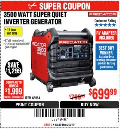 Harbor Freight Coupon PREDATOR 3500 WATT SUPER QUIET INVERTER GENERATOR Lot No. 56720/63584 Expired: 2/3/19 - $699.99