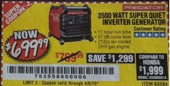 Harbor Freight Coupon PREDATOR 3500 WATT SUPER QUIET INVERTER GENERATOR Lot No. 56720/63584 Expired: 4/6/19 - $699.99