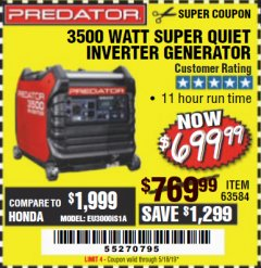 Harbor Freight Coupon PREDATOR 3500 WATT SUPER QUIET INVERTER GENERATOR Lot No. 56720/63584 Expired: 5/18/19 - $699.99