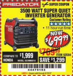 Harbor Freight Coupon PREDATOR 3500 WATT SUPER QUIET INVERTER GENERATOR Lot No. 56720/63584 Expired: 6/15/19 - $699.99