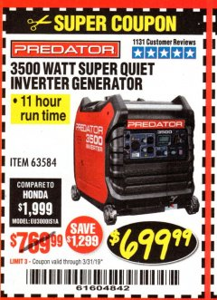 Harbor Freight Coupon PREDATOR 3500 WATT SUPER QUIET INVERTER GENERATOR Lot No. 56720/63584 Expired: 3/31/19 - $699.99