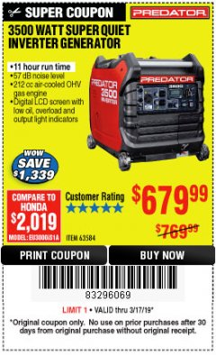 Harbor Freight Coupon PREDATOR 3500 WATT SUPER QUIET INVERTER GENERATOR Lot No. 56720/63584 Expired: 3/17/19 - $679.99