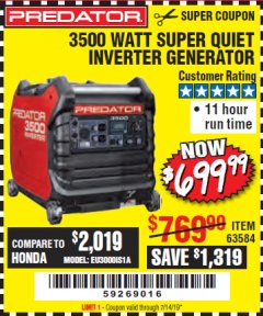 Harbor Freight Coupon PREDATOR 3500 WATT SUPER QUIET INVERTER GENERATOR Lot No. 56720/63584 Expired: 7/14/19 - $699.99