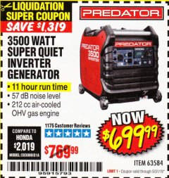 Harbor Freight Coupon PREDATOR 3500 WATT SUPER QUIET INVERTER GENERATOR Lot No. 56720/63584 Expired: 5/31/19 - $699.99