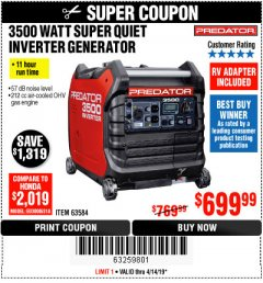 Harbor Freight Coupon PREDATOR 3500 WATT SUPER QUIET INVERTER GENERATOR Lot No. 56720/63584 Expired: 4/14/19 - $699.99