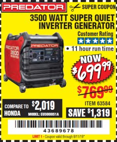Harbor Freight Coupon PREDATOR 3500 WATT SUPER QUIET INVERTER GENERATOR Lot No. 56720/63584 Expired: 8/11/19 - $699.99