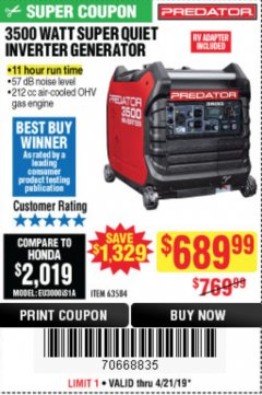 Harbor Freight Coupon PREDATOR 3500 WATT SUPER QUIET INVERTER GENERATOR Lot No. 56720/63584 Expired: 4/21/19 - $689.99