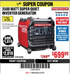 Harbor Freight Coupon PREDATOR 3500 WATT SUPER QUIET INVERTER GENERATOR Lot No. 56720/63584 Expired: 5/12/19 - $699.99