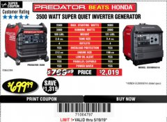 Harbor Freight Coupon PREDATOR 3500 WATT SUPER QUIET INVERTER GENERATOR Lot No. 56720/63584 Expired: 5/19/19 - $699.99